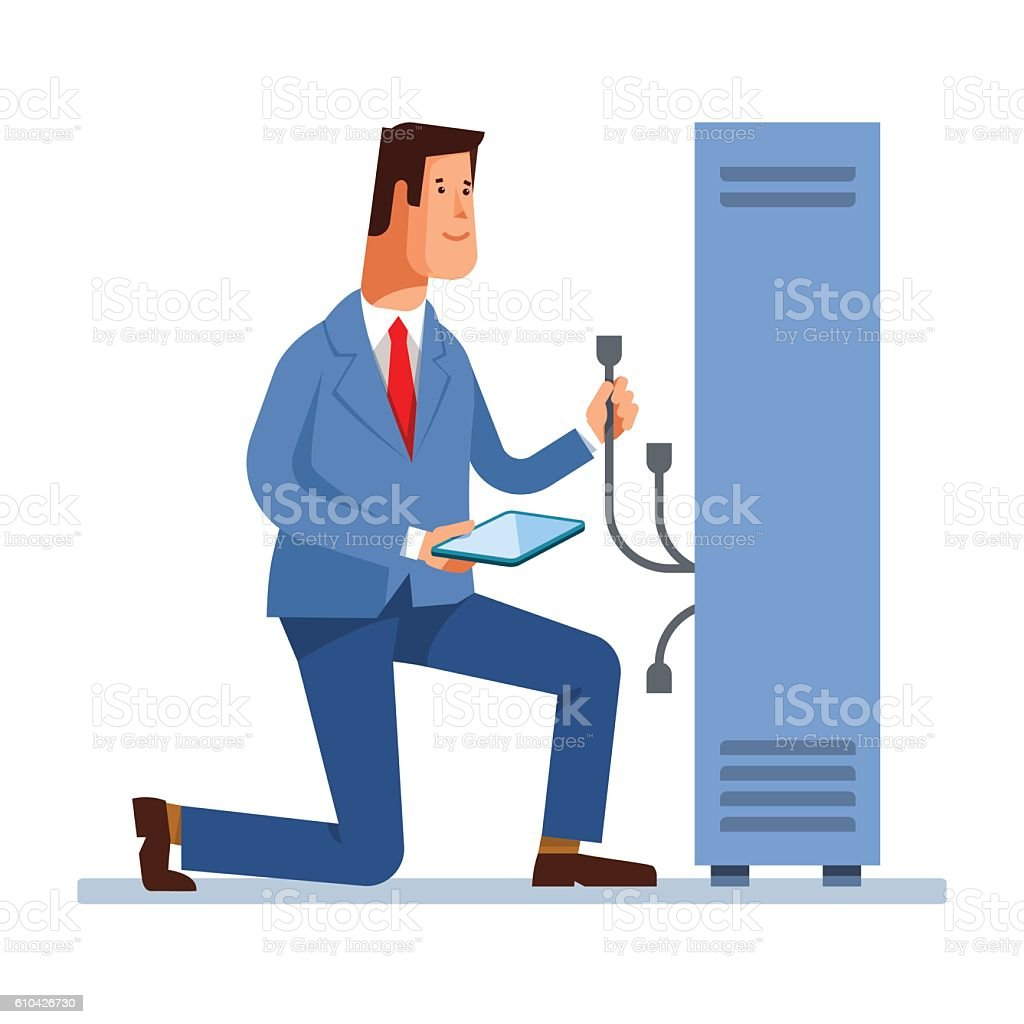 Vector flat illustration of network engineer administrator working – Vektorgrafik