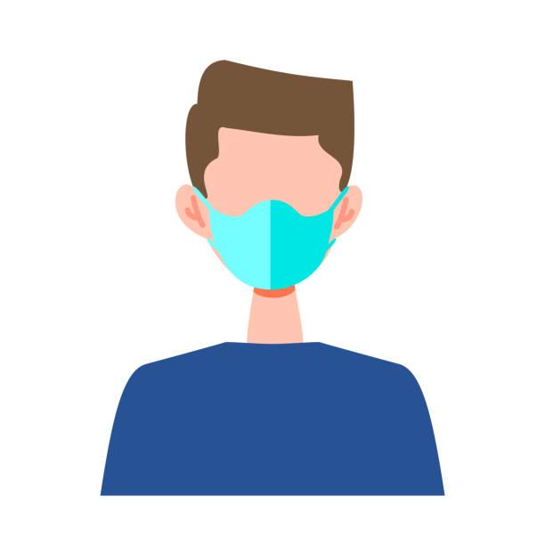 外科用マスクを着用した人々のベクトル平らなイラスト - マスク 日本人点のイラスト素材/クリップアート素材/マンガ素材/アイコン素材