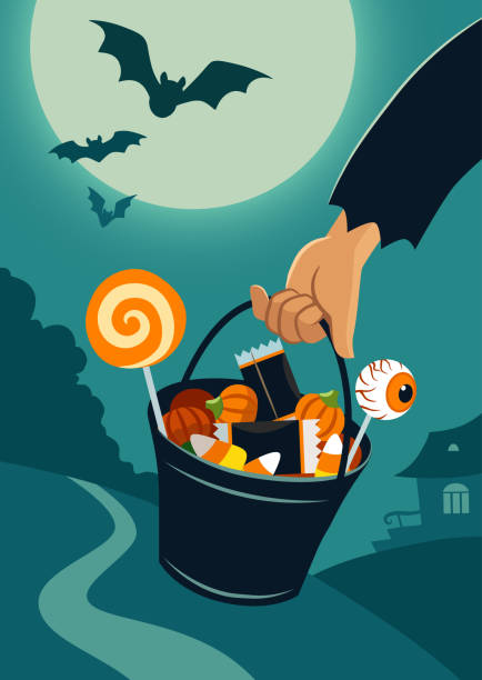 Vector flat illustration of person's hand carrying a trick-or-treat bucket full of Halloween candy, on a background of night landscape with trees and house in a distance, full moon, flying bats. Vector flat illustration of person's hand carrying a trick-or-treat bucket full of Halloween candy, on a background of night landscape with trees and house in a distance, full moon, flying bats. scary halloween scene silhouettes stock illustrations