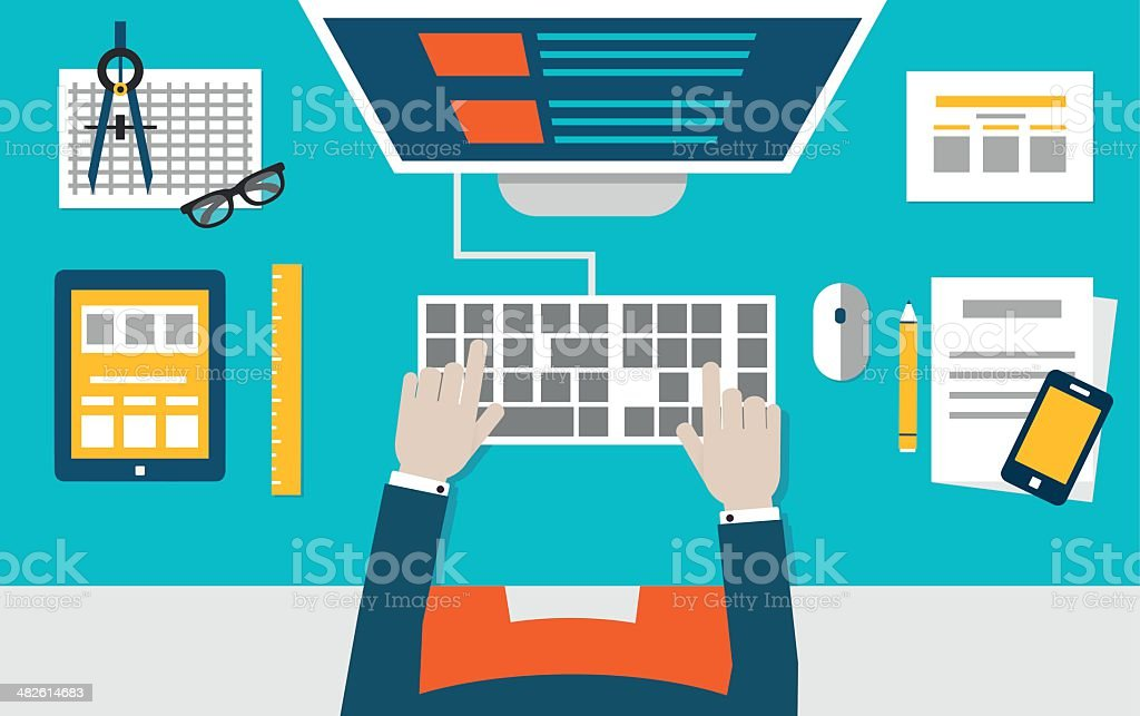 Vector flat illustration of process coding and programming mobile applications vector art illustration