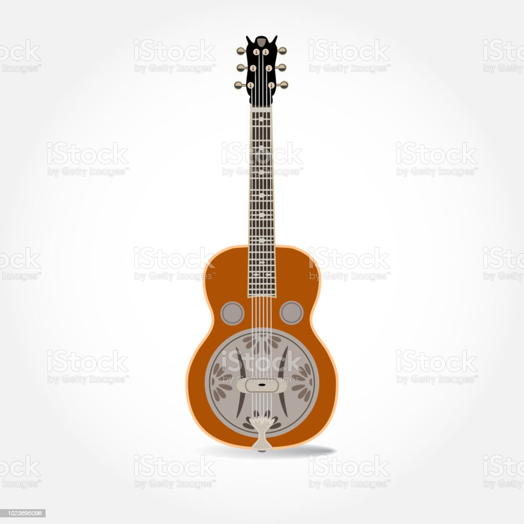 Vector flat illustration of resonator guitar vector art illustration
