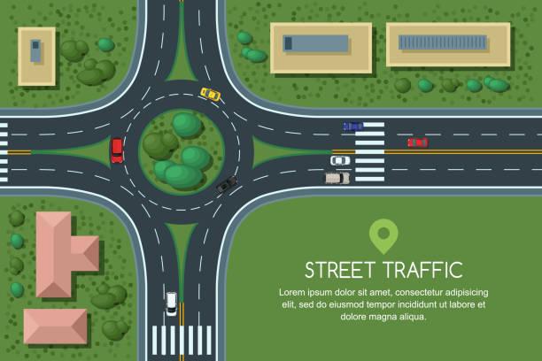 stockillustraties, clipart, cartoons en iconen met platte vectorillustratie rotonde wegvervoer junction en stad. city road, auto's, crosswalk bovenaanzicht. - rotonde kruispunt