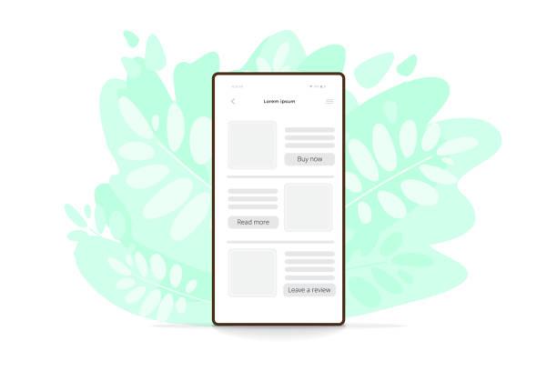 vektor flache illustration des smartphones in grünen blättern. moderne handy-symbol. - tablet mit displayinhalt stock-grafiken, -clipart, -cartoons und -symbole