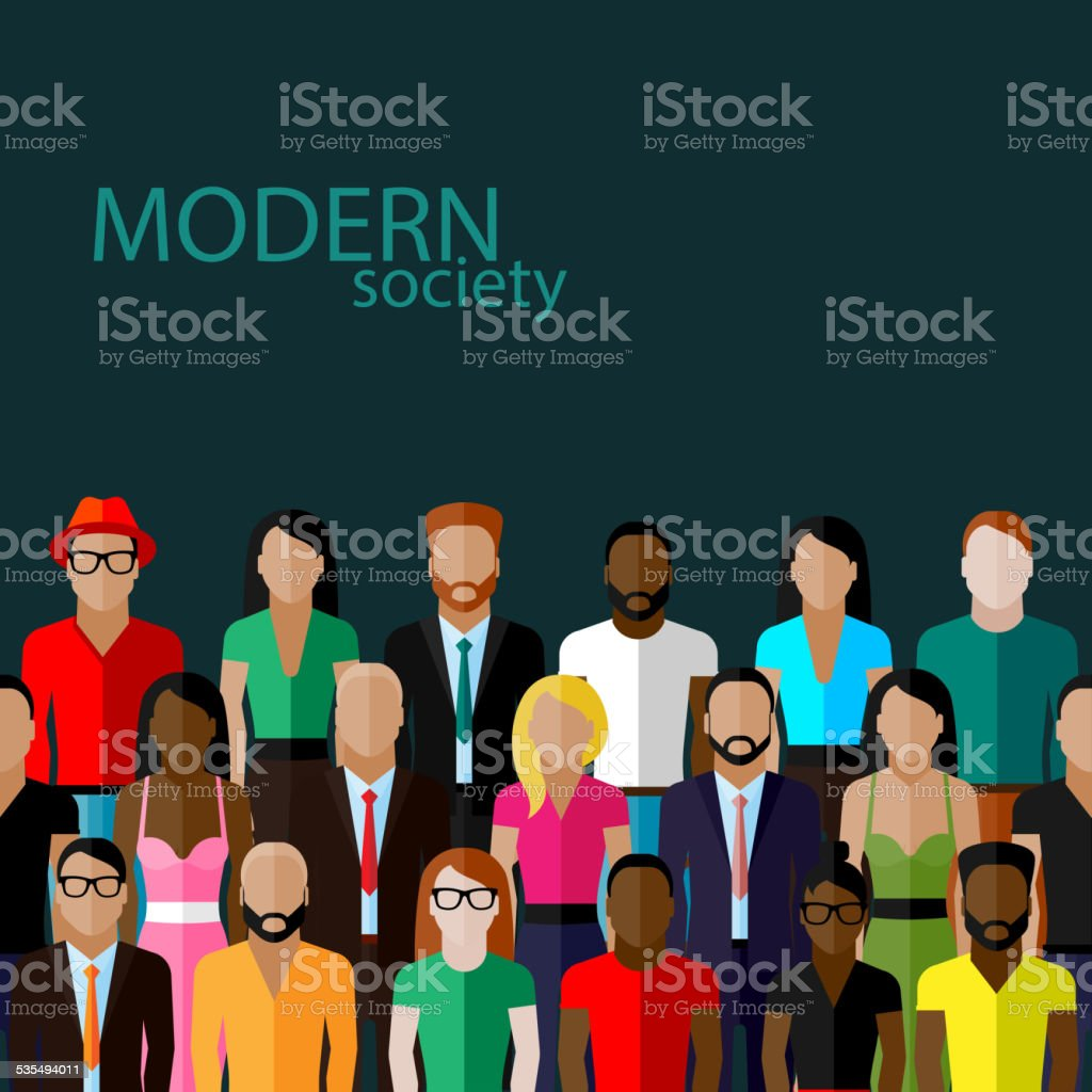 vector flat  illustration of society members with a large group vector art illustration