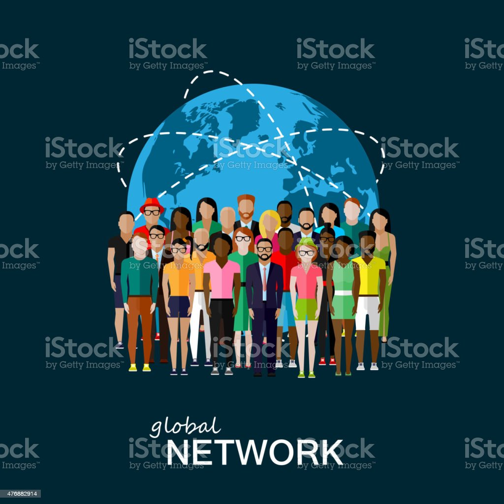vector flat illustration of society members with group of people vector art illustration