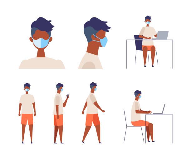 外科用マスクを着用した黒人男性のベクトル平らなイラスト - 大学生 パソコン 日本点のイラスト素材/クリップアート素材/マンガ素材/アイコン素材