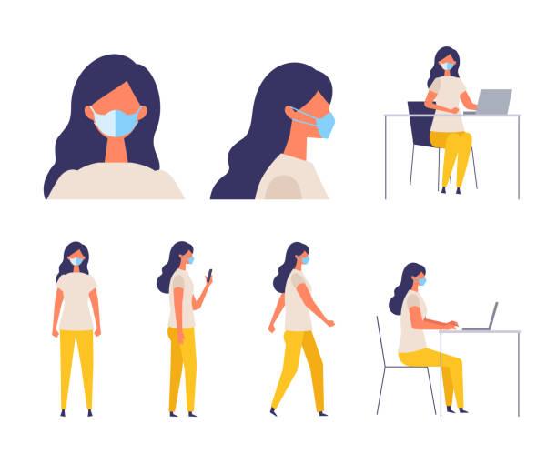 外科用マスクを着用した女性のベクトル平らなイラスト - 大学生 パソコン 日本点のイラスト素材/クリップアート素材/マンガ素材/アイコン素材