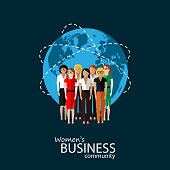 vector flat illustration of women business community.