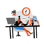 Vector flat illustration of women sitting in office and watching phone. Procrastination. Isolated on white