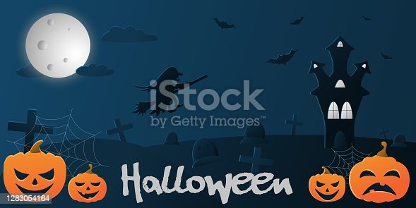 istock Vector flat illustration with a gradient on the theme of halloween, blue background with the image of a flying witch in the sky, a castle, bats and pumpkins 1283054164