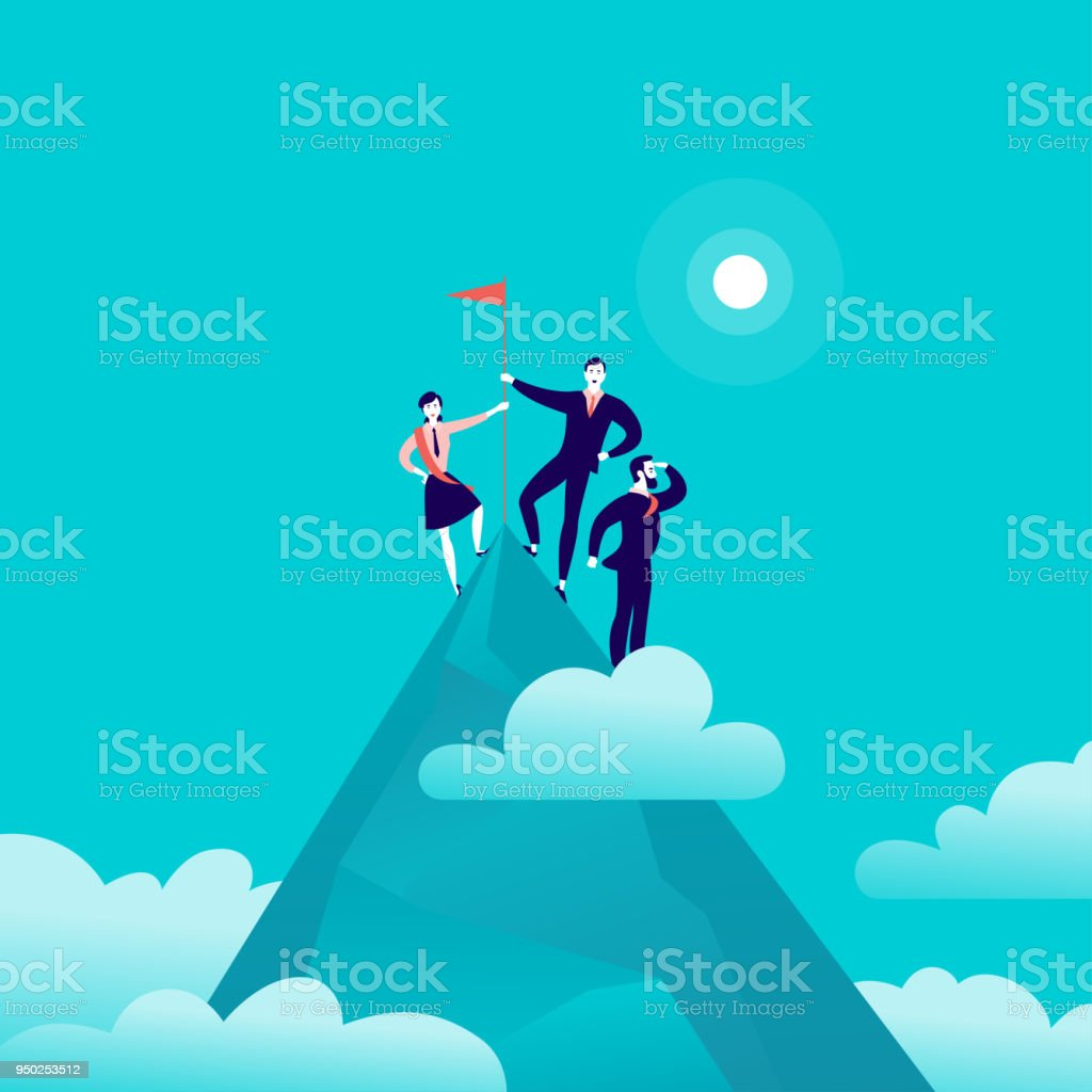 Vector flat illustration with business people standing on mountain peak top holding flag on blue clouded sky background. 2 vector art illustration