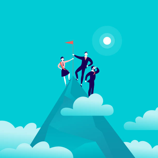 Vector flat illustration with business people standing on mountain peak top holding flag on blue clouded sky background. 2 Vector flat illustration with business people standing on mountain peak top holding flag on blue clouded sky background. Victory, achievement, reaching aim, partnership, motivation, leader - metaphor. motivation stock illustrations
