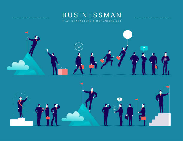 illustrazioni stock, clip art, cartoni animati e icone di tendenza di vector flat illustration with businessman office characters & metaphors isolated on blue background. concepts portraits for different business situations - leadership, idea, achievement, aspirations. - business man