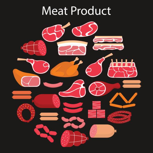 Vector flat illustration with different kinds of meat vector art illustration