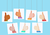 Vector flat illustration with hanging posters with likes. People of different nationalities.