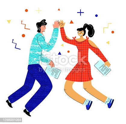 istock Vector flat illustration with happy young couple who give five in jump. 1255031054