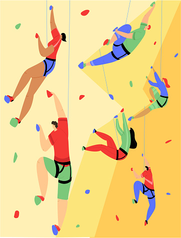 Vector flat illustration with various rock climbers climbing up wall.