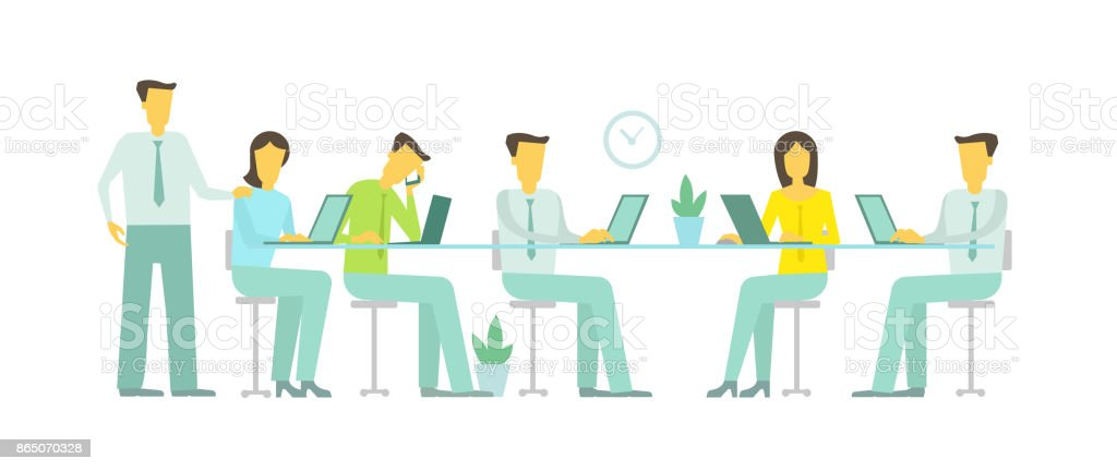vector flat illustration work in the office team six people at the