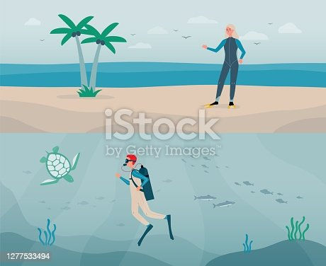 istock Vector flat illustrations of diver man with aqualung and woman in a scuba suit. 1277533494
