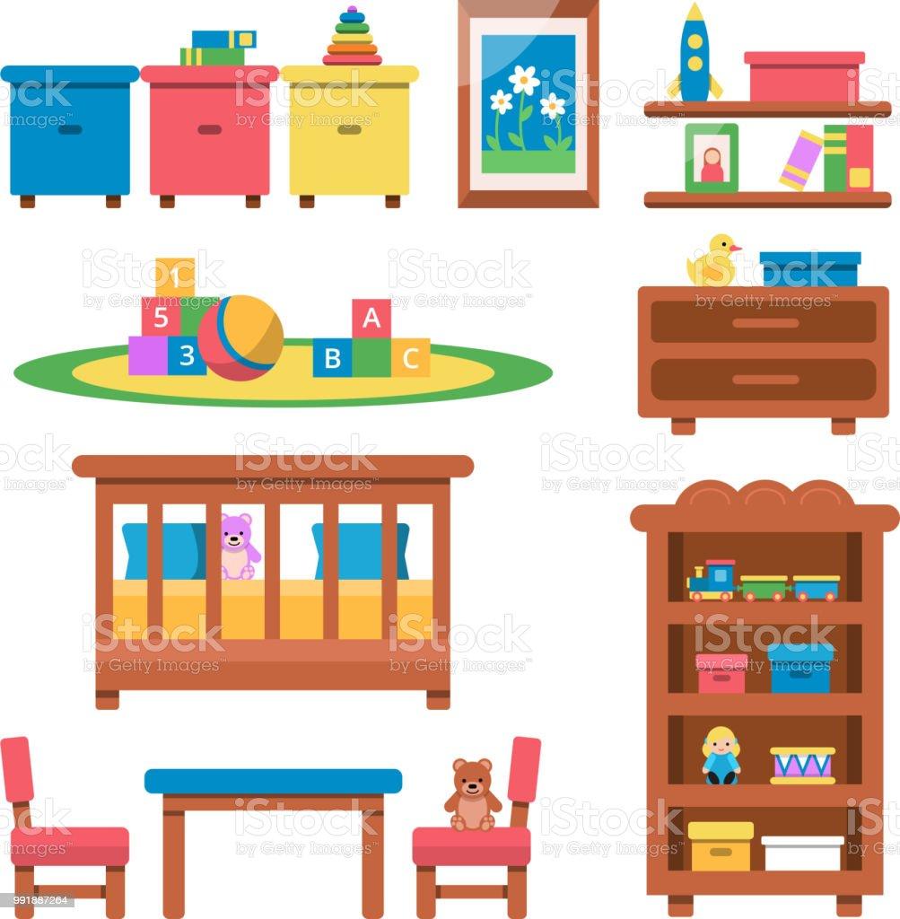 Ilustracion De Planas Ilustraciones Vectoriales De Juguetes Y - Muebles-para-juguetes-nios