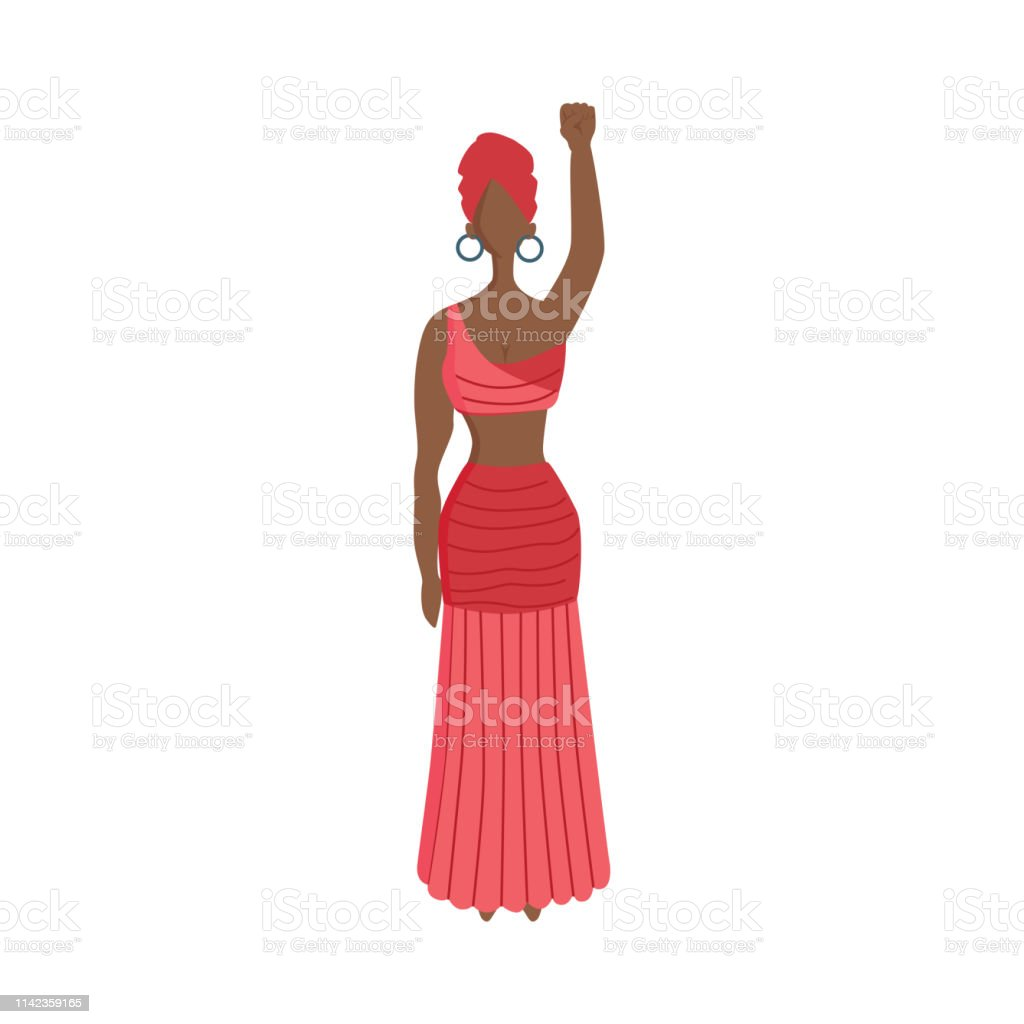 Vector young indian woman in ethnic clothing standing raising fist up...