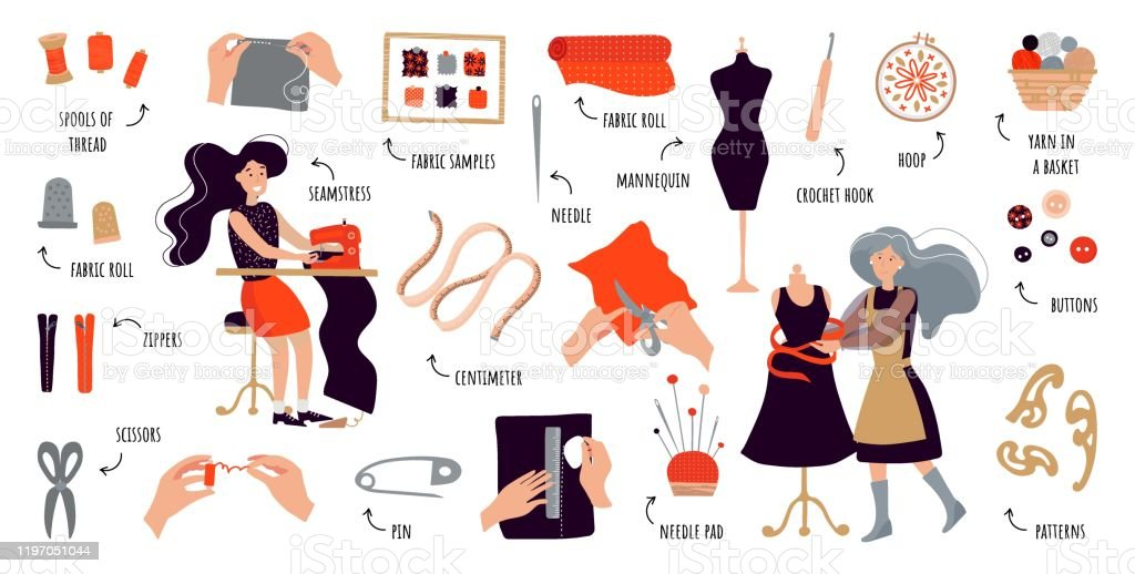 Vector Flat Infographics Sewing Courses Women Create Designer Clothes With Their Own Hands Illustration For Sewing Courses A Training Site A Poster With Master Classes Set Of Items For Sewing And Knitting