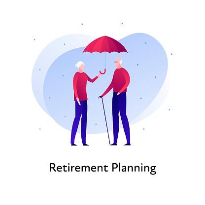 Vector flat insurance banner template illustration. Elder family person insurance concept. Senior male and female holding umbrella on white background. Business design element for poster, ui, web.