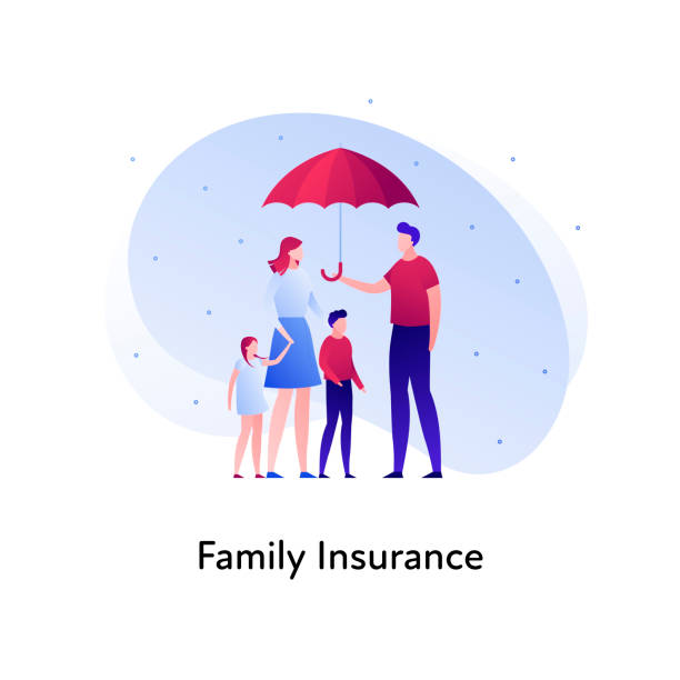 Vector flat insurance banner template illustration. Family person insurance concept. Parents with childs holding umbrella on white background. Business design element for poster, ui, web. Vector flat insurance banner template illustration. Family person insurance concept. Parents with child holding umbrella on white background. Business design element for poster, ui, web. insurance stock illustrations