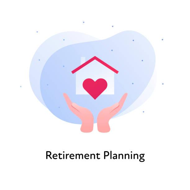 벡터 평면 보험 배너 템플릿 그림입니다. 은퇴 계획 개념입니다. 흰색 배경에 집과 심장 표지판을 들고 손. 포스터, ui, 웹을위한 비즈니스 디자인 요소. - nursing home stock illustrations