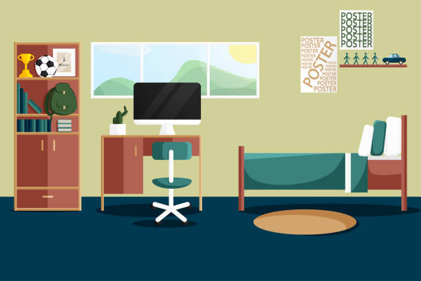 Vector Flat Interior Design of Single Bedroom Vector Interior Design of Single Bedroom for Boy with Home Furniture. Vector illustration in Flat Style. Design Concept of Modern Dormitory Interior. Child Room with Desk, Library, Computer and etc bedroom stock illustrations
