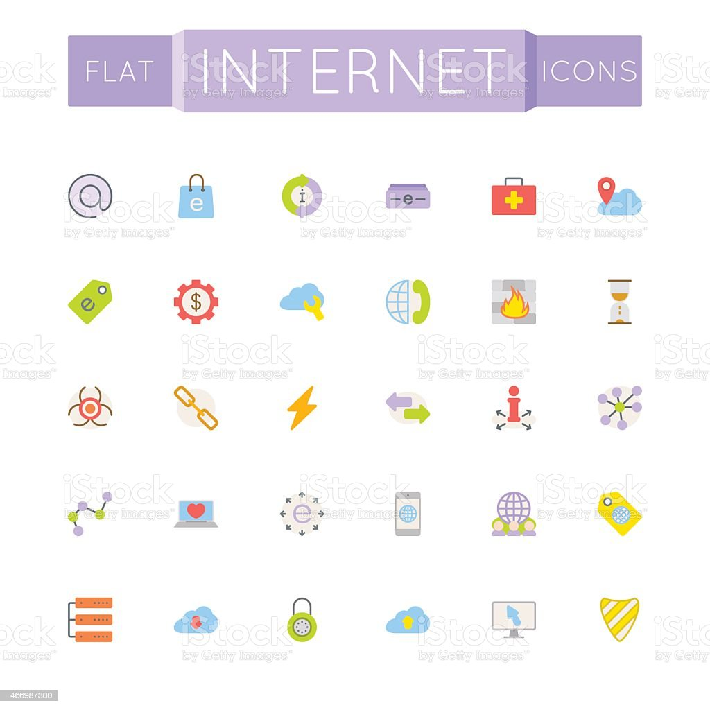 Vector Flat Internet Icons vector art illustration