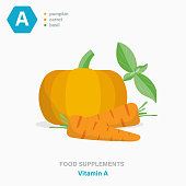 Vector colored flat isolated icon of food supplements - Vitamin A. Pumpkin, carrots and basil leaves as a source of vitamins. Food additives for vegetarians and athletes.