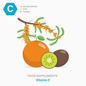 Vector colored flat isolated icon of food supplements - Vitamin C. Orange, kiwi and sea buckthorn berries as a source of vitamins. Food additives for vegetarians and athletes.