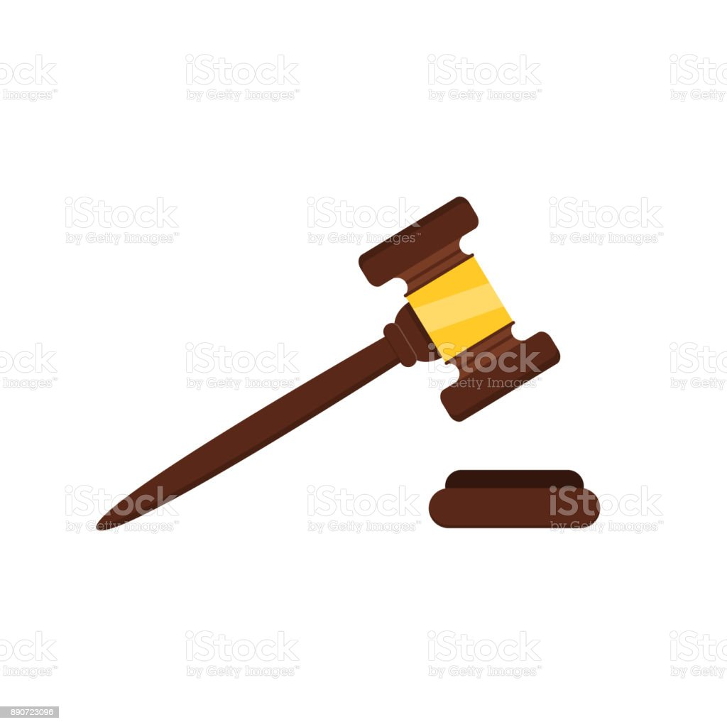 Vector flat isolated wood judge hammer gavel on the white background. Concept of auction, justice and courthouse. vector art illustration