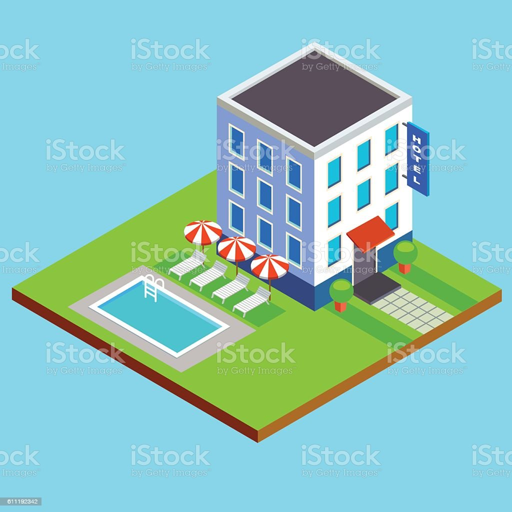 vector flat isometric hotel building with swimming pool vector art illustration