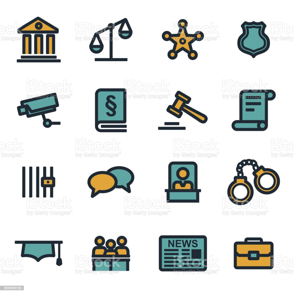 Vector flat justice icons set vector art illustration