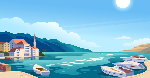 Vector flat landscape illustration of beautiful nature view: sky, mountains, water, cozy European town houses on sea coast.