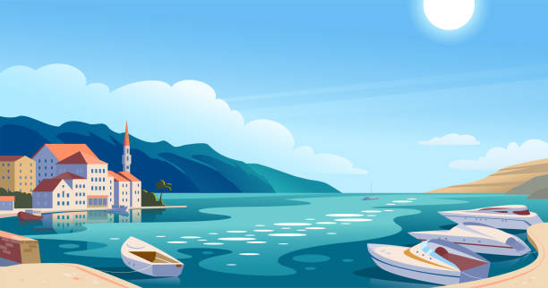 vector flat landscape illustration of beautiful nature view: sky, mountains, water, cozy european town houses on sea coast. - панорамный stock illustrations