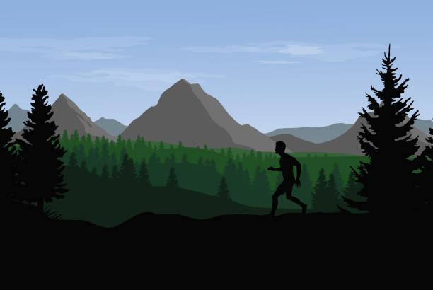 bildbanksillustrationer, clip art samt tecknat material och ikoner med vector platta landskapet med berg, kullar och skog och silhuetten av utbildning löpare - jogging hill