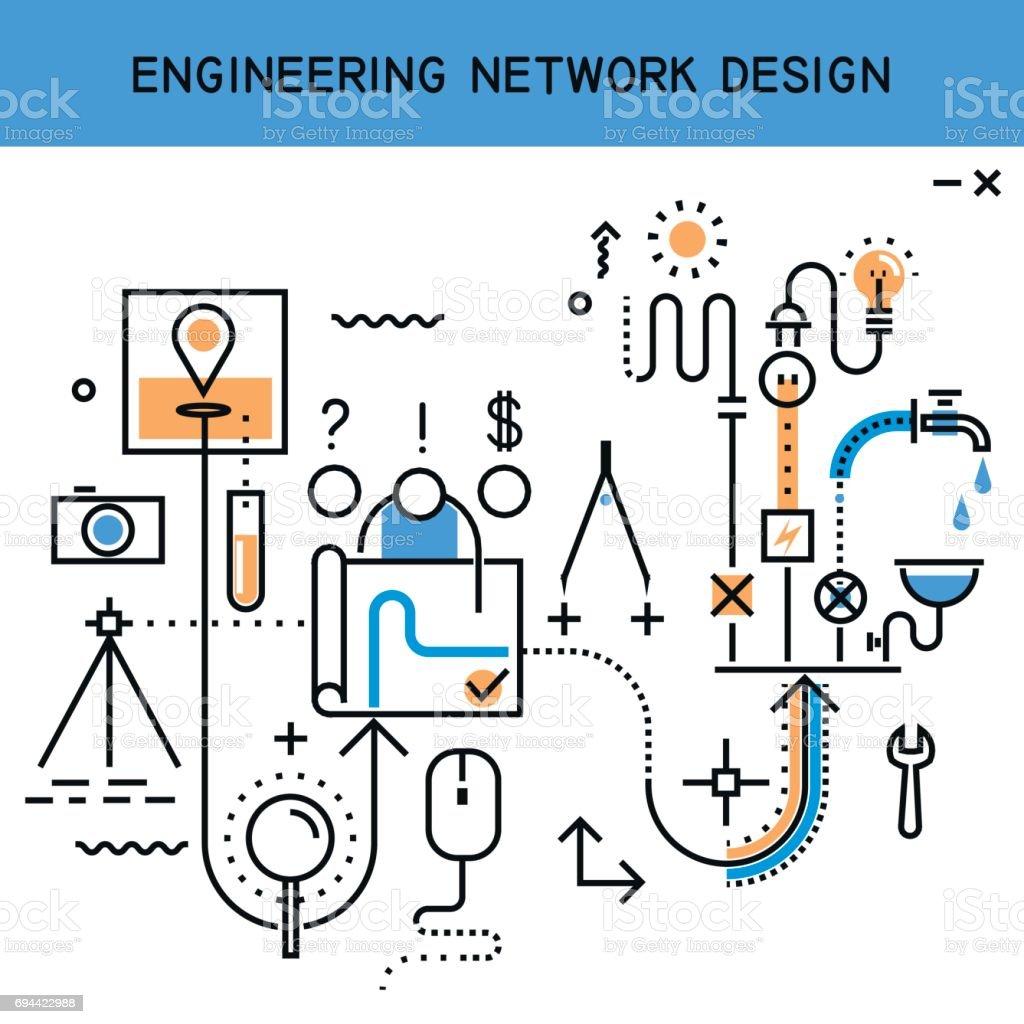 Vector flat line abstract process illustration of engineering network design, installation of communications. vector art illustration