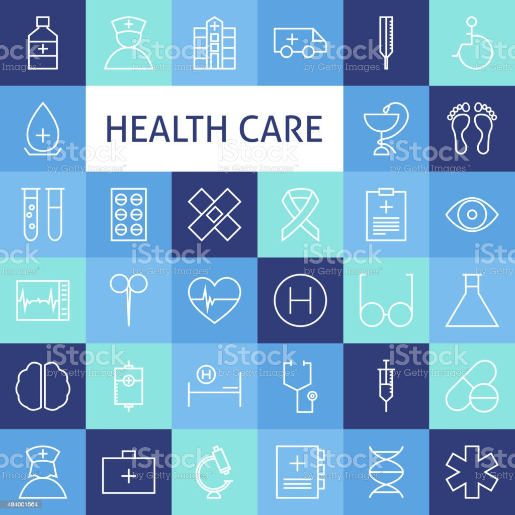 Vector Flat Line Art Modern Healthcare and Medicine Icons Set vector art illustration