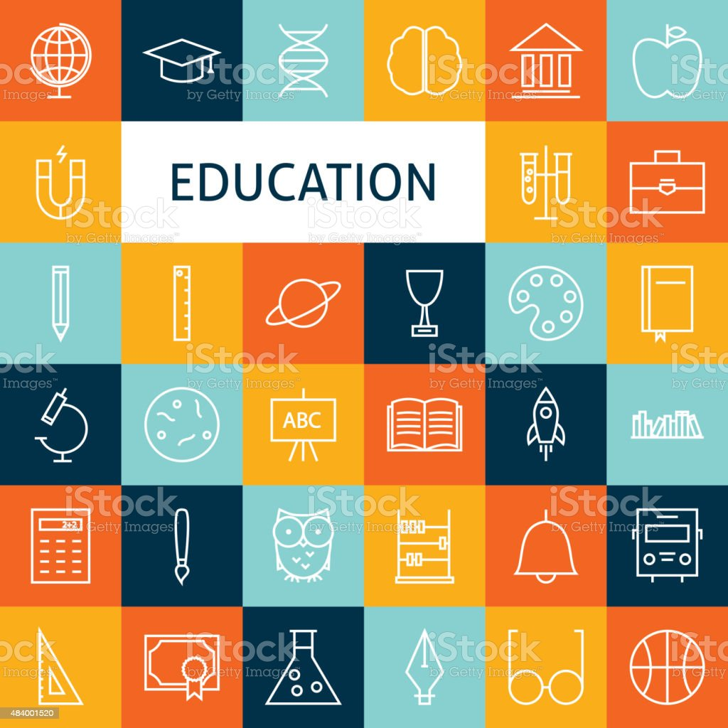 Vector Flat Line Art Modern School and Education Icons Set vector art illustration