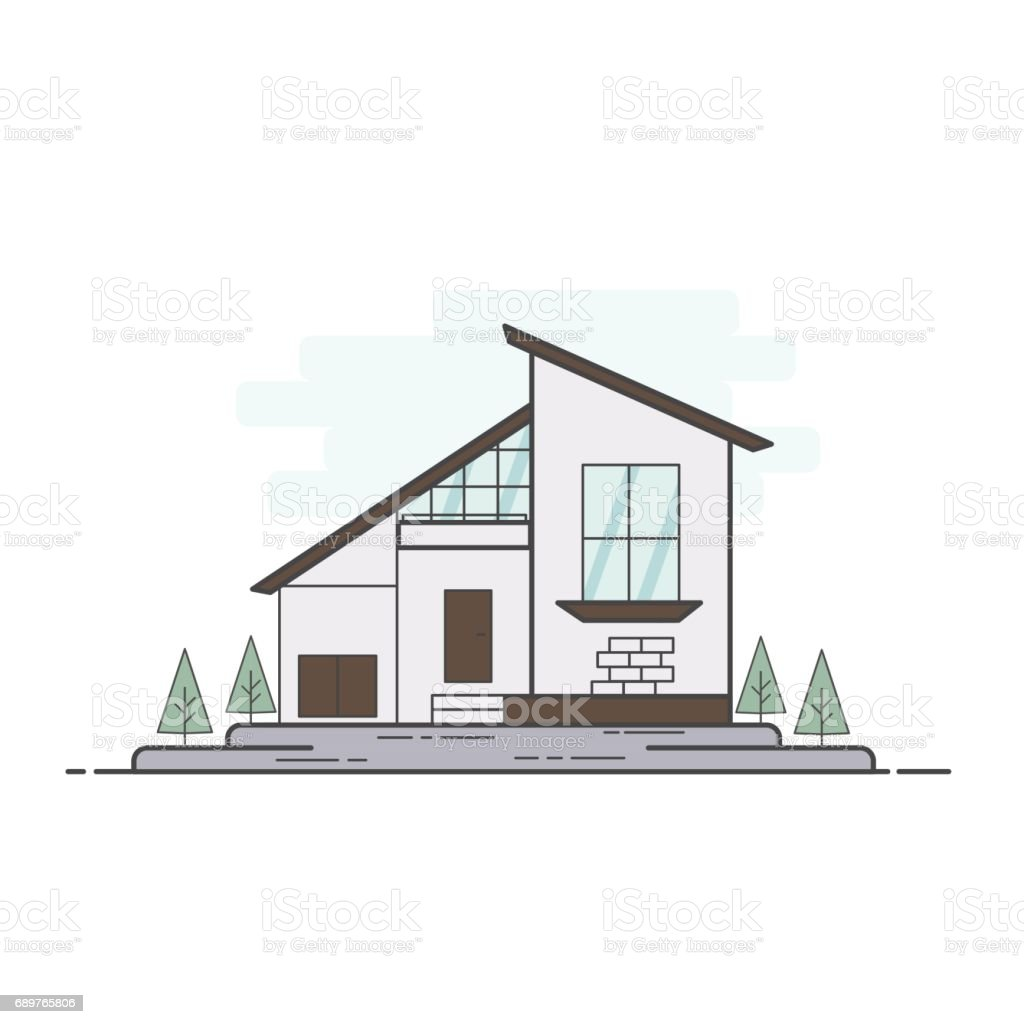 Ilustraci n de ilustraci n de vector l nea plano casa for Casa moderna vector
