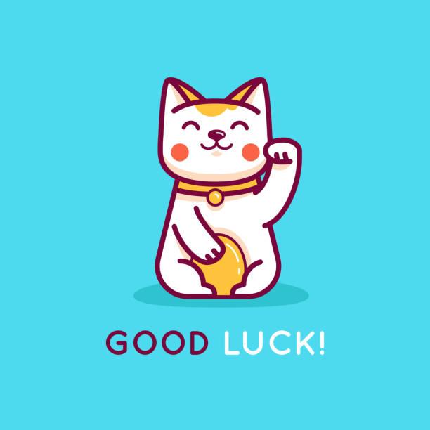 Vector flat linear illustration and design template - maneki neko cat vector art illustration