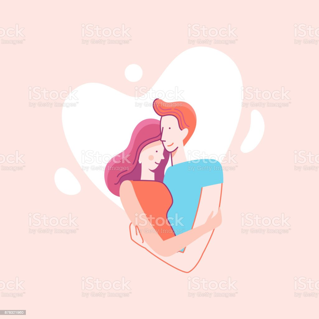 Vector flat linear illustration - happy couple in love vector art illustration