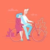 Vector flat linear illustration - happy couple in love - illustration and design element for wedding invitation, save the date cards ot valentine's day greeting card - man and woman on the bicycle