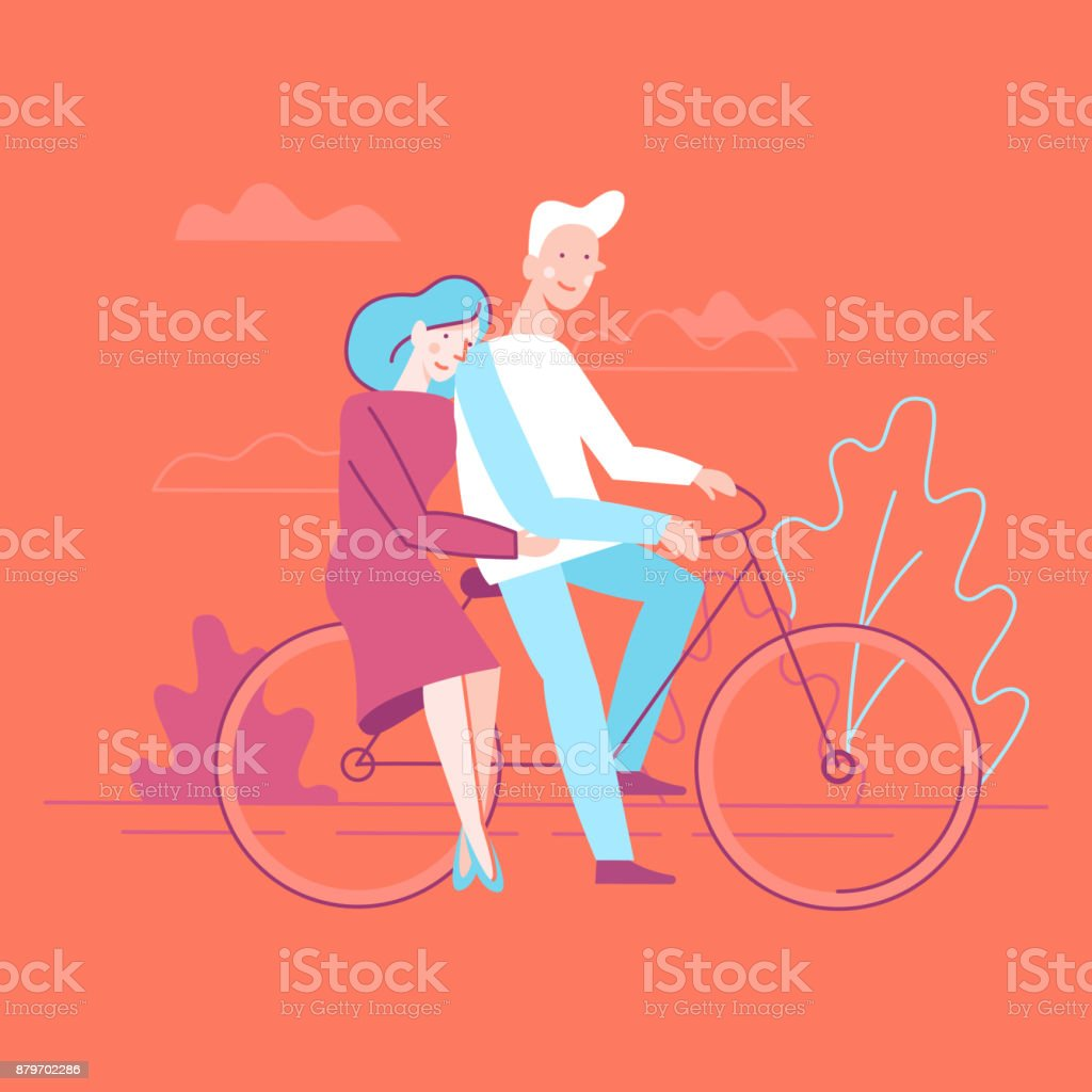 Vector flat linear illustration - happy couple in love vector art illustration