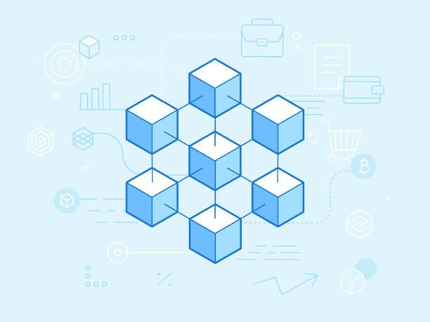 stockillustraties, clipart, cartoons en iconen met vlakke lineaire afbeelding in blauwe kleuren - vector blockchain en cryptocurrency concept - blockchain