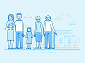 Vector flat linear illustration in blue colors - happy family with grandparents and children