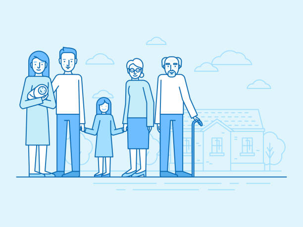 ilustrações de stock, clip art, desenhos animados e ícones de vector flat linear illustration in blue colors - happy family with grandparents and children - casa reforma